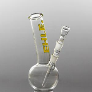 spherical bong, bent, joint 14,5, yellow-green